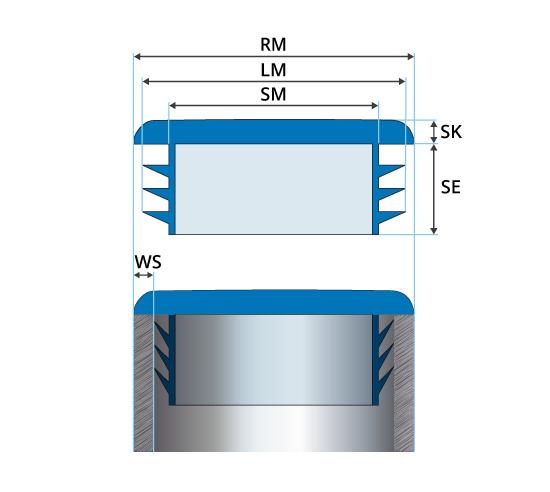 50x90mm droit bouchon rohrstopfen lamelles bouchon endstopfen extrémités pour tubes